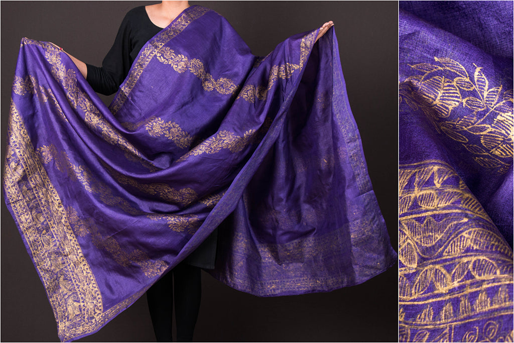 Traditional Madhubani Handpainted Pure Tussar Silk Handloom Full Work Parple/Golden Dupatta