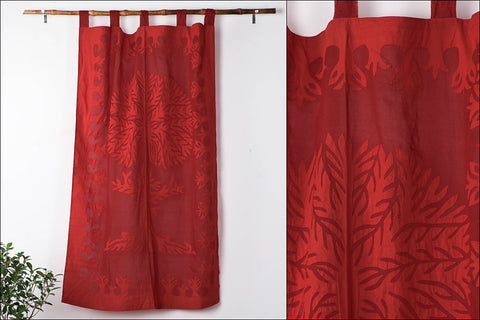 Barmer Applique Cut Work Wisdom Tree Window Curtain (3.6 x 5 feet)