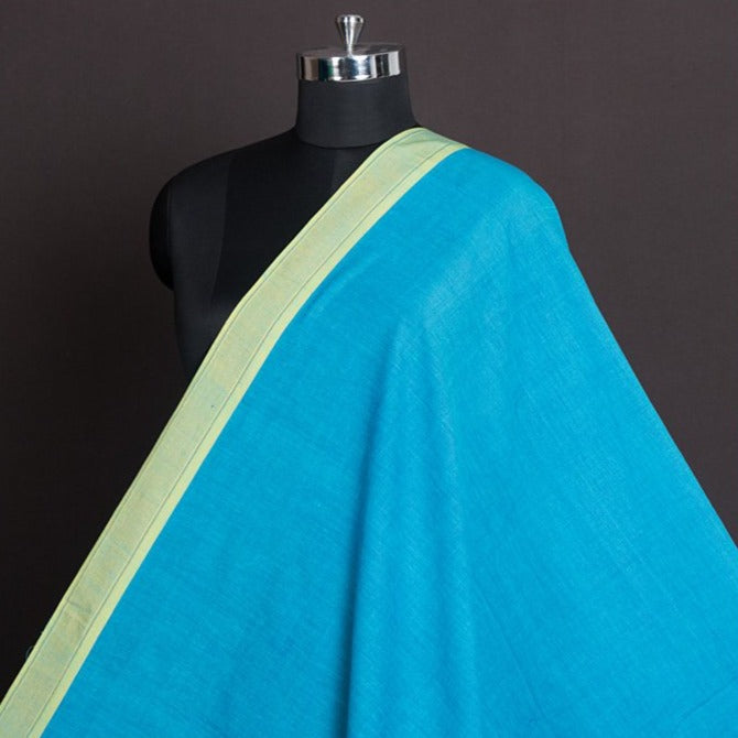 Light Blue - Dama Mangalgiri Pure Handloom Cotton Fabric with Zari Border