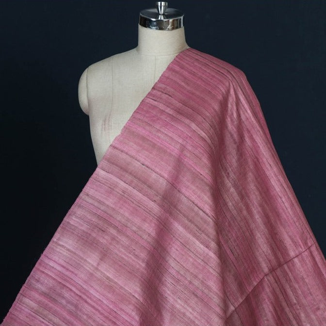 Pink - Handwoven Pure Desi Tussar Silk Fabric from Bhagalpur