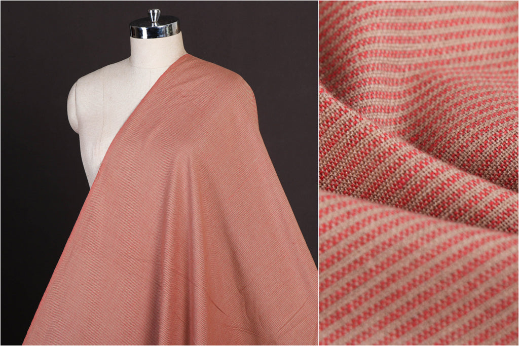 Light Coral - Jhiri Pure Handloom Cotton Fabric (Width - 48in)