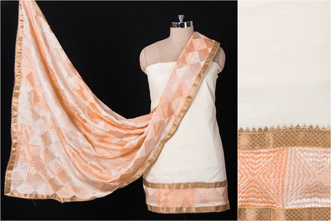 Traditional Phulkari Embroidered Cotton Gota Patti 3pc Suit Material Set