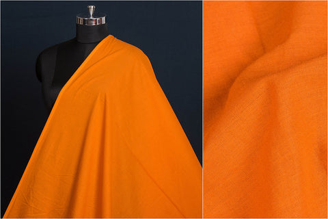 Orange - Pre Washed Plain Pure Cotton Fabric (Width - 44in)