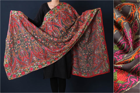 Traditional Phulkari Heavy Embroidered Jaal Dupatta with Zari