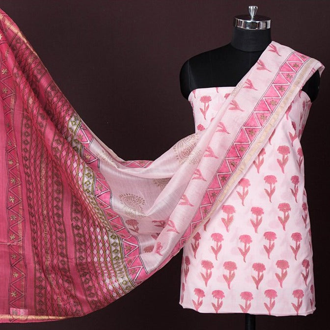 2pc Handloom Cotton Block Printed Suit Material Set with Chanderi Silk Ombre-Dyed Dupatta