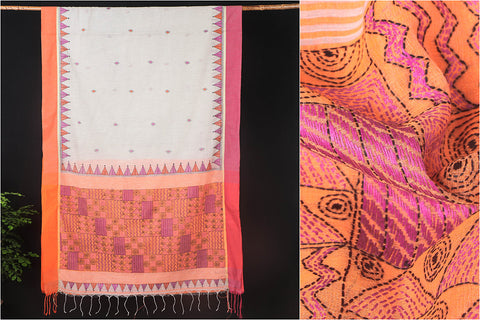 Original Kantha Hand Embroidered Cotton Saree by Alima Khatun