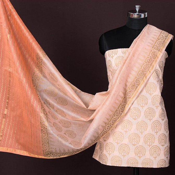 2pc Handloom Cotton Gold Block Printed Suit Material Set with Chanderi Silk Ombre-Dyed Dupatta