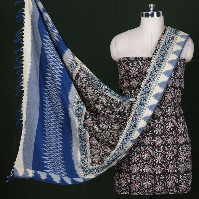 Ikat Woven Kalamkari Print 2pc Handloom Cotton Suit Material Set