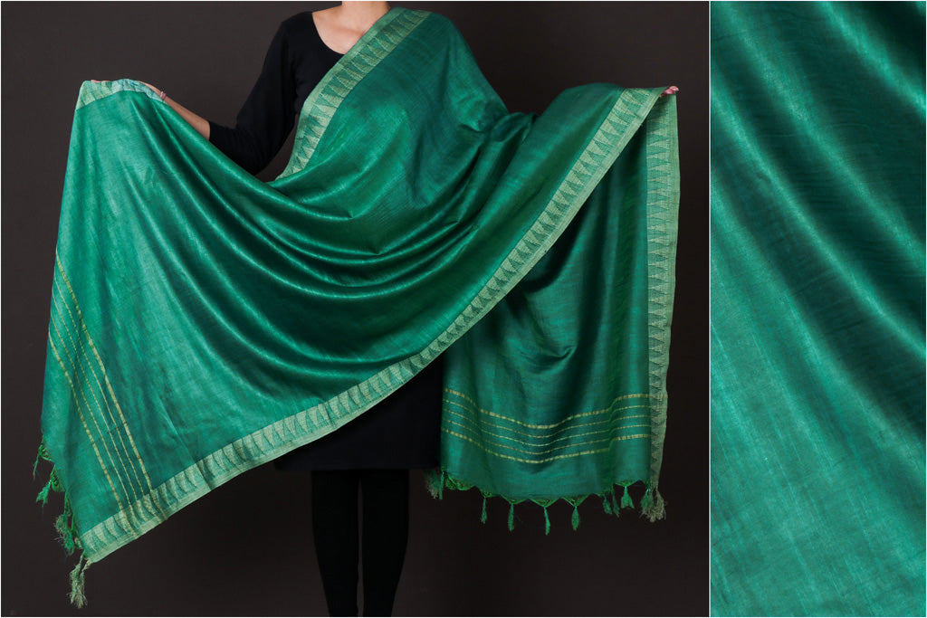 Green - Mulberry Silk Handloom Dupatta with Tassels