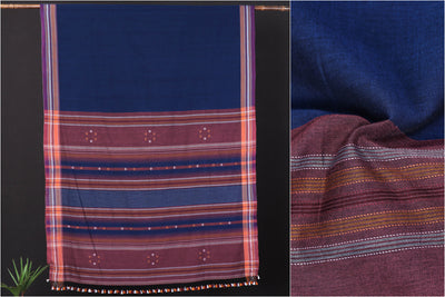 Pure Handloom Organic Kala Cotton Natural Dyed Saree with Tassels