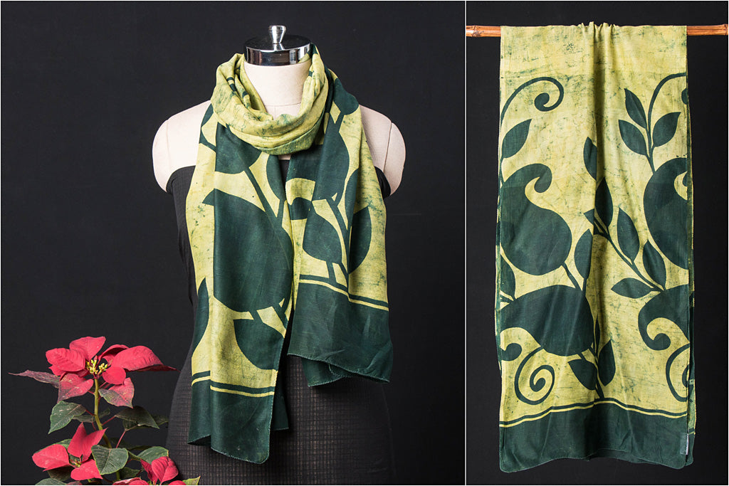 Bindaas Art Block Print Natural Dyed Chanderi Silk Stole
