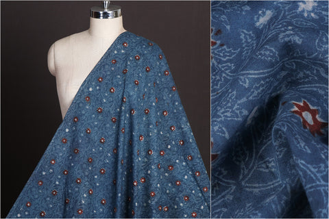Rekh Dabu Hand Block Printed Pure Cotton Natural Dyed Fabric