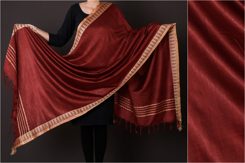Crimson Red - Mulberry Silk Handloom Dupatta with Tassels