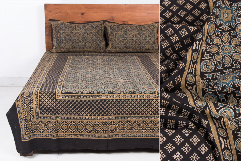 Ajrakh Block Print Natural Dyed Cotton Single Bed Cover with Pillow Covers (90 in x 60 in