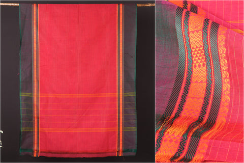 Traditional Chettinad Kandangi Pure Cotton Checks Thread Border Saree from Tamil Nadu