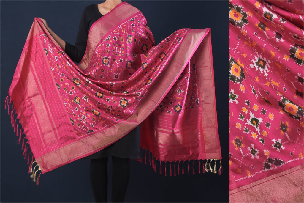 Special Hand Spun Pochampally Ikat Pure Silk Dupatta with Zari Border