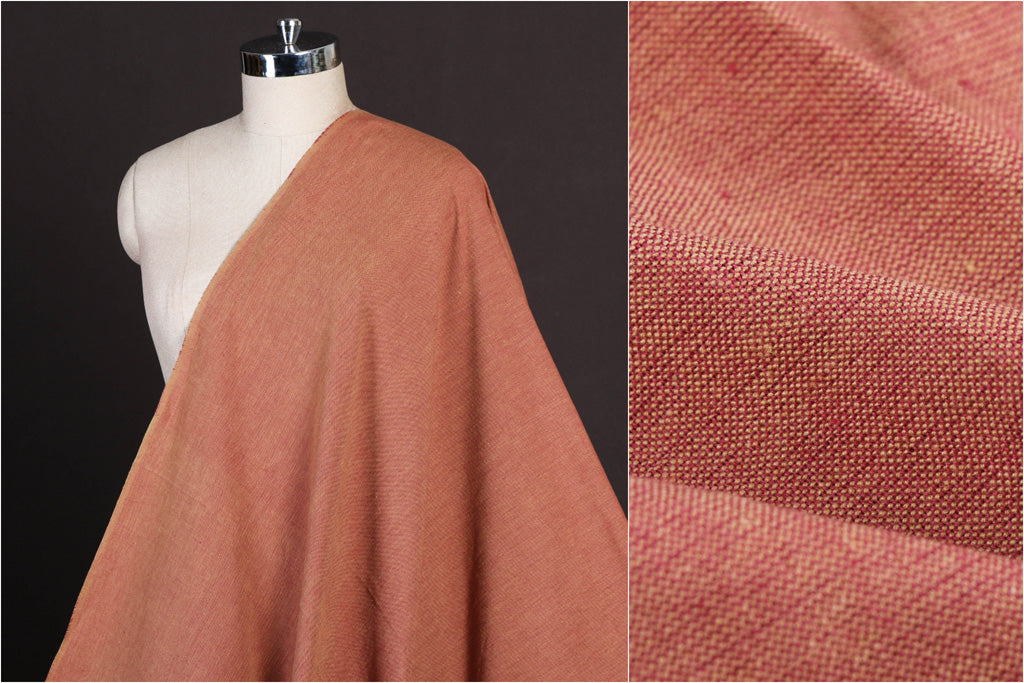 Peach - Jhiri Pure Handloom Cotton Fabric (Width - 48in)