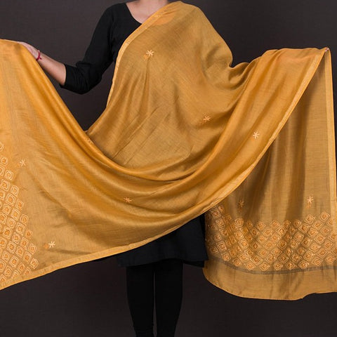 Kashidakari Hand Embroidery Chanderi Silk Dupatta by Zahoor from Kashmir