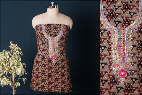 Hand Embroidered Bead Work Ajrakh Block Printed Cotton Kurta Material (2.55 meters)