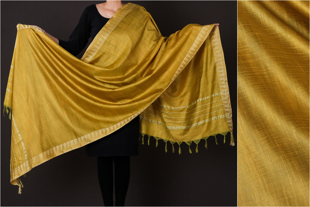 Golden Yellow - Mulberry Silk Handloom Dupatta with Tassels