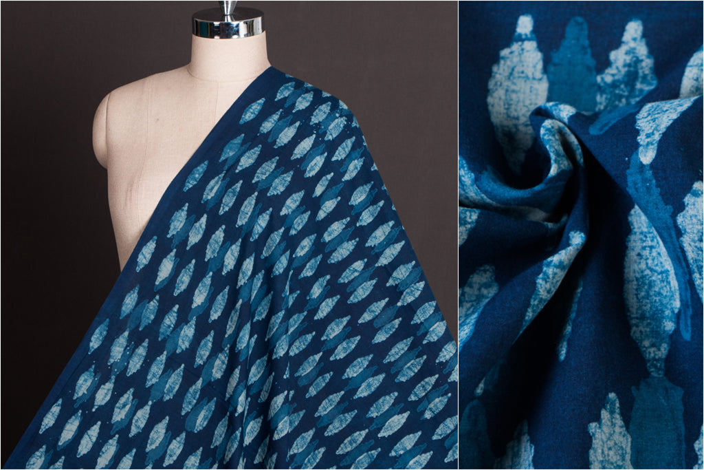 Akola Hand Block Print Natural Dyed Pure Cotton Fabric