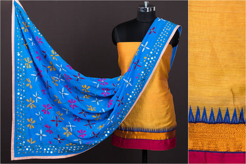 2pc Dharwad Handloom Cotton Suit with Georgette Phulkari Embroidery Dupatta