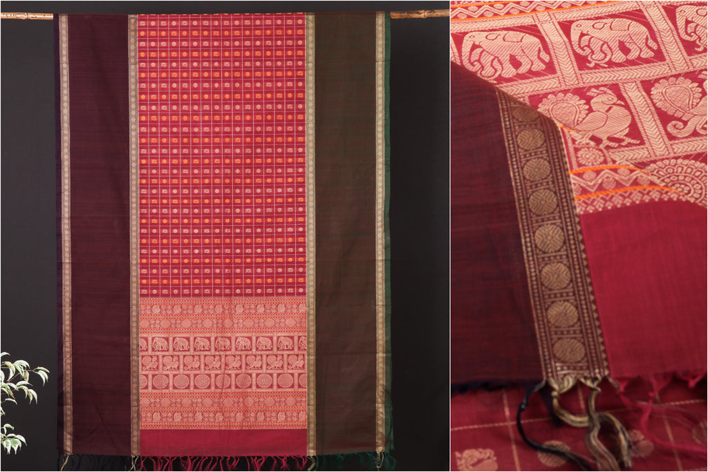 Traditional Handloom Kanchipuram Pure Cotton Buti Saree from Tamil Nadu