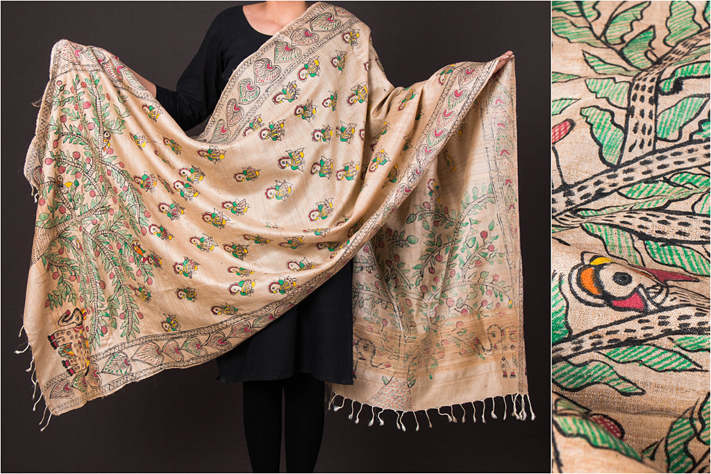 Traditional Madhubani Handpainted Pure Tussar Silk Handloom Full Work Beige/Multicolor Dupatta