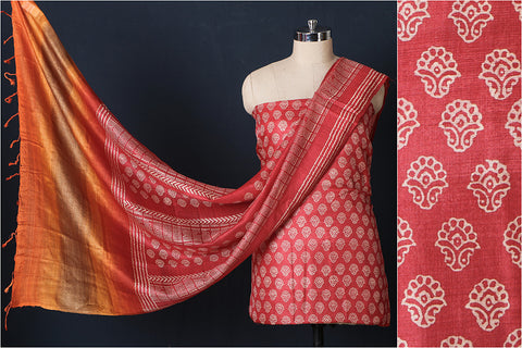 Special Block Printed Pure Tussar Silk 2pc Suit Material Set