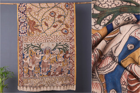 Handpainted Srikalahasti Kalamkari Pen Work Pure Mangalgiri Handloom Cotton Saree