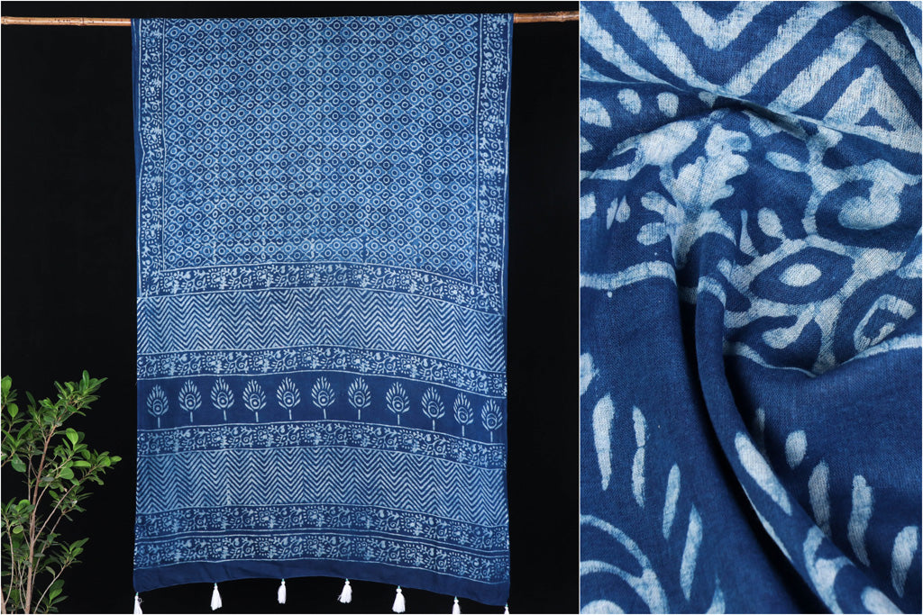 Double Dabu Print Indigo Cotton Saree from Tarapur