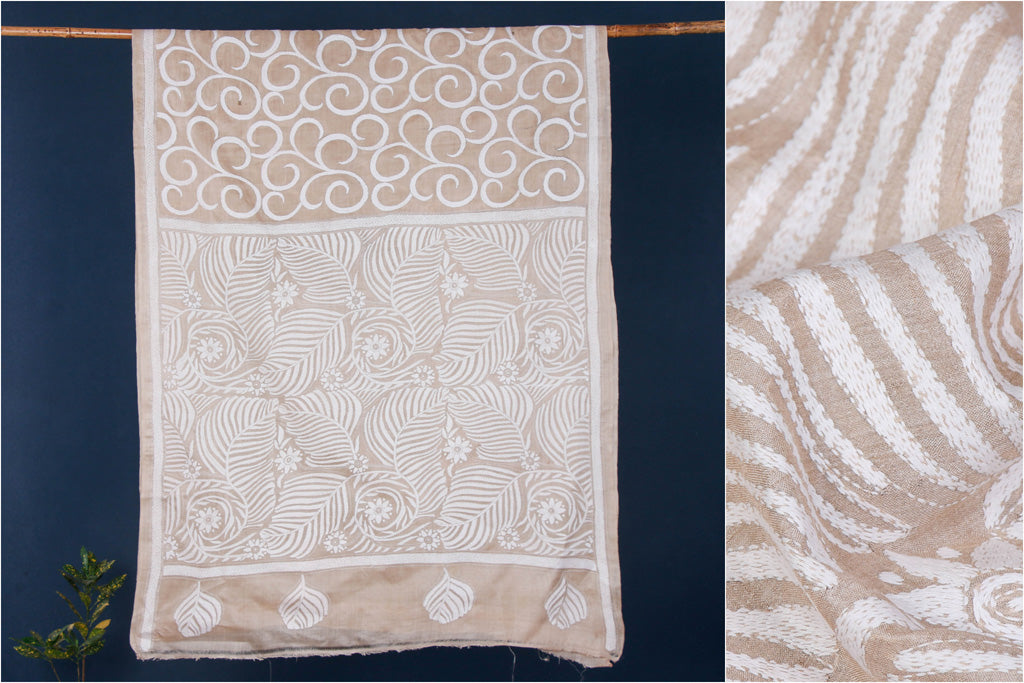 Authentic Bengal Kantha Embroidered Pure Tussar Silk Saree
