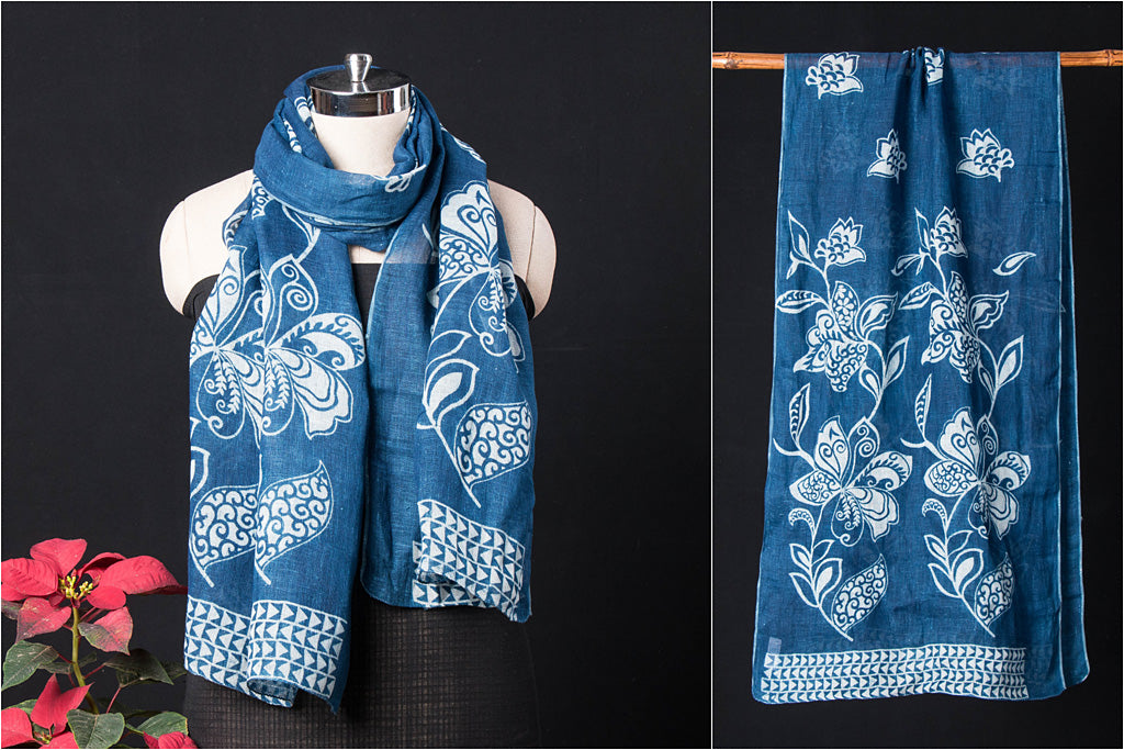 Pure Linen Bindaas Art Block Print Natural Dyed Stole