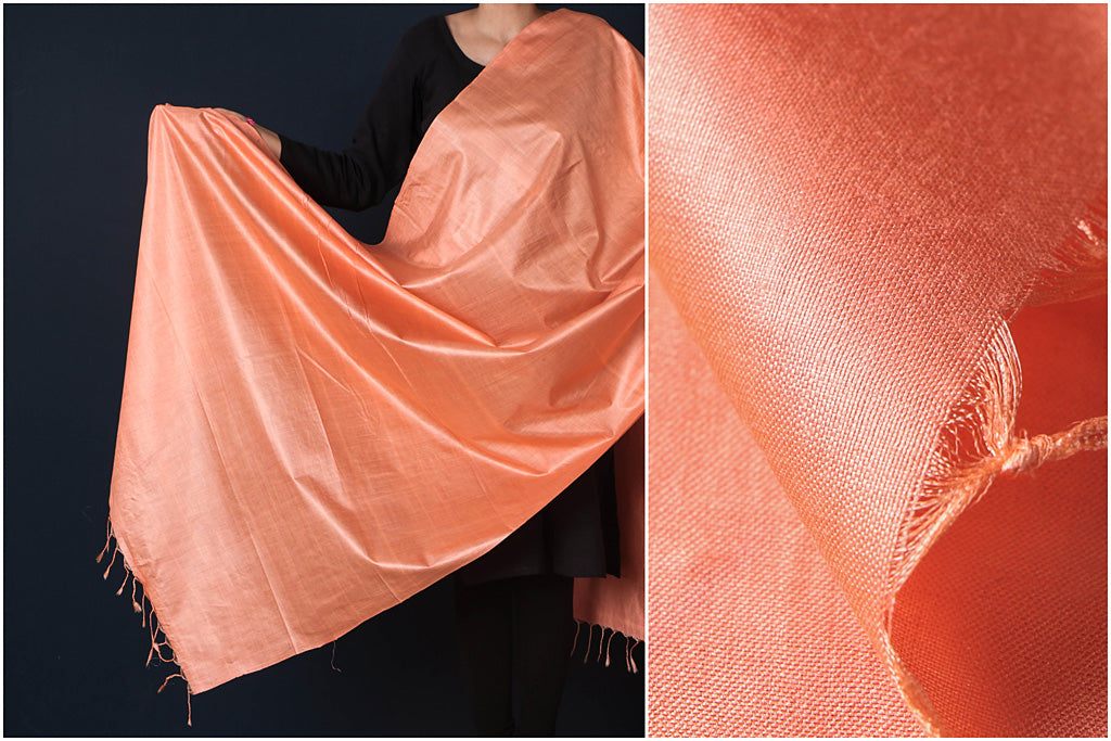 Light Peach - Vidarbha Tussar Cotton Handloom Dupatta