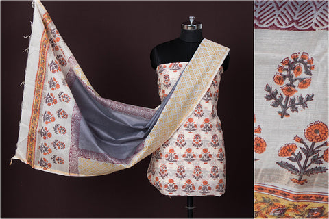 2pc Handloom Chanderi Silk Block Printed Zari Suit Material Set with Ombre-Dyed Dupatta