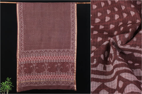 Kota Silk Bagru Hand Block Printed Saree with Zari Border