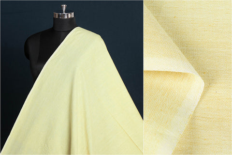 Lemon Cream - Jhiri Pure Handloom Cotton Fabric (Width - 48in)