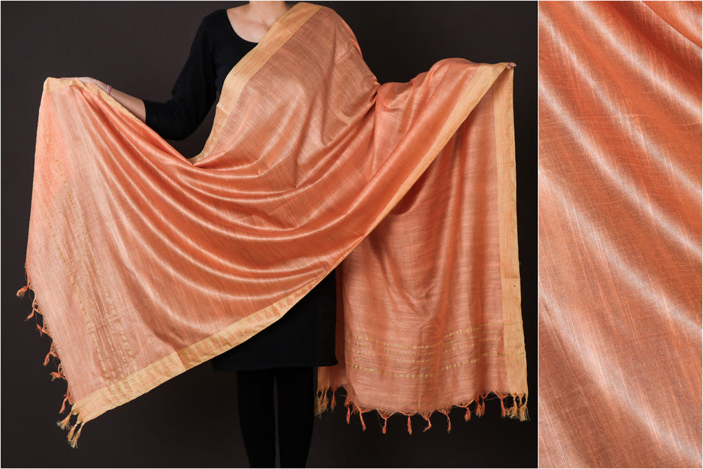 Peach - Mulberry Silk Handloom Dupatta with Tassels