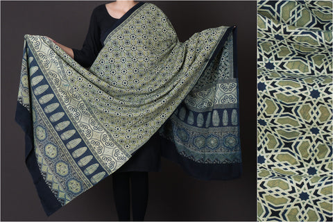 Ajrakh Block Print Natural Dyed Cotton Dupatta from Kutch