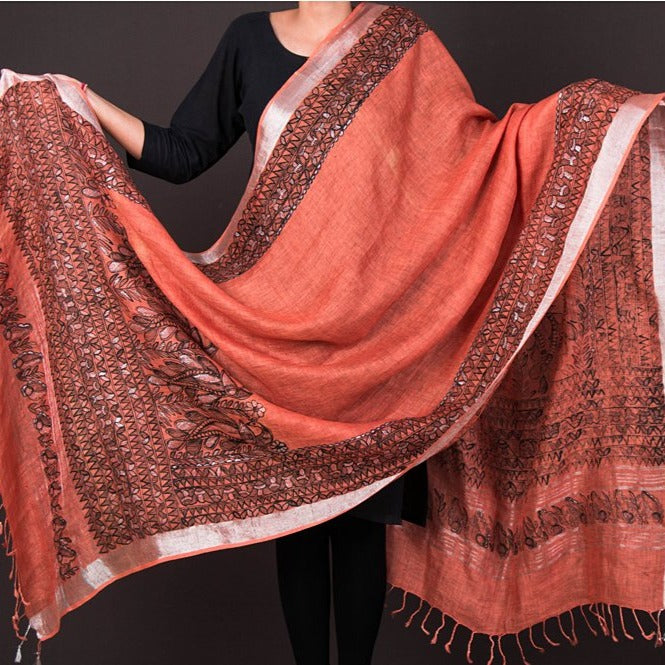 Traditional Madhubani Handpainted Pure Linen Silk Handloom Full Work Brown/Black Dupatta