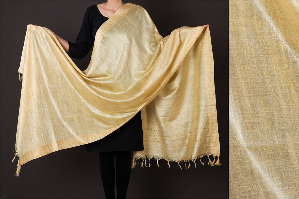 Golden - Mulberry Silk Handloom Dupatta with Tassels