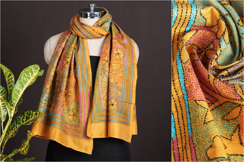 Authentic Bengal Kantha Embroidered Pure Silk Handloom Stole