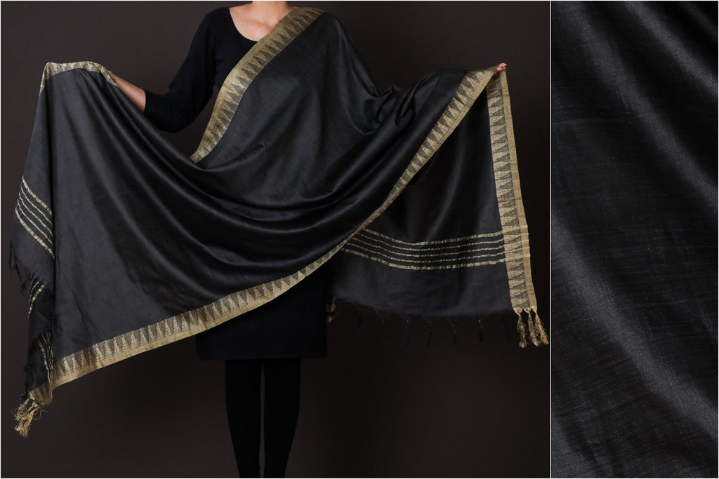 Black - Mulberry Silk Handloom Dupatta with Tassels