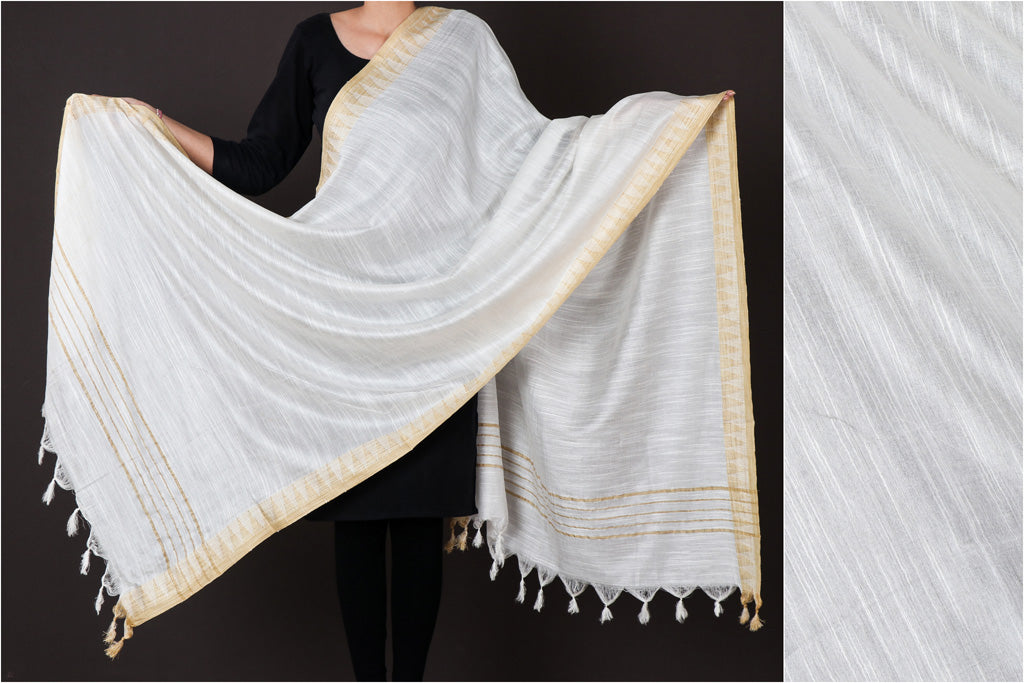 White - Mulberry Silk Handloom Dupatta with Tassels