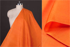 Orange - Organic Handspun Handwoven Pure Mulberry Silk Fabric
