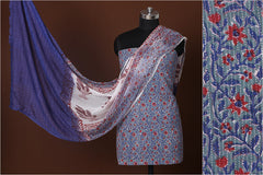 Sanganeri Hand Block Printed Kantha Cotton 3pc Suit Material Set with Chiffon Dupatta