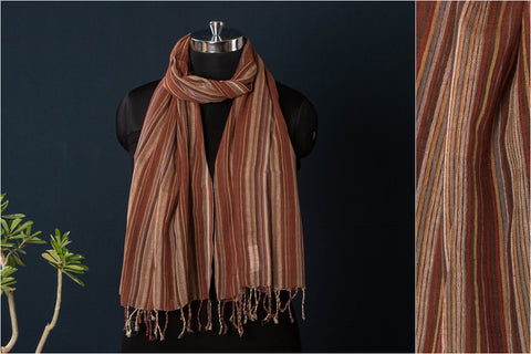 Handloom Mangalgiri Cotton Natural Dyed Stole with Tassels by DAMA
