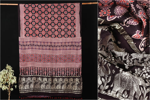 Sufiyan Khatri Special Modal Silk Ajrakh Block Print Natural Dyed Saree with Zari Border