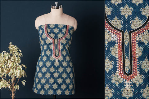 Hand Embroidered Bead Work Ajrakh Block Printed Cotton Kurta Material (2.6 meters)
