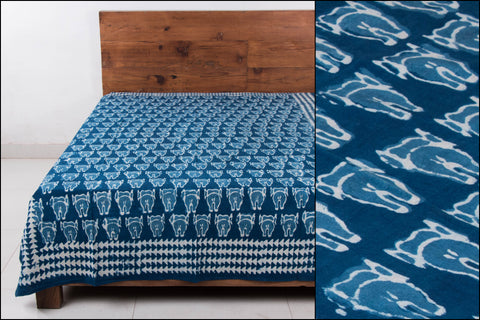 Block Art Prints Natural Dyed Cotton Single Bedcover by Bindaas Unlimited (84 x 62 inches)